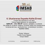 Certificat de remerciement d'İMSAD à Hekim Yapı